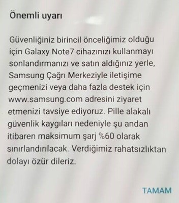 GALAXY NOTE 7'Yİ HEMEN KAPATIN !