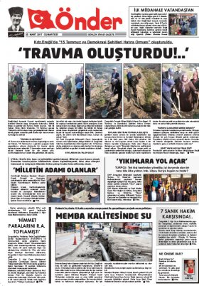 Ereğli Önder Gazetesi - 25.03.2017 Manşeti