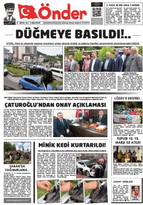 Ereğli Önder Gazetesi - 27.05.2017 Manşeti