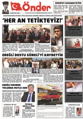 Ereğli Önder Gazetesi - 28.10.2016 Manşeti